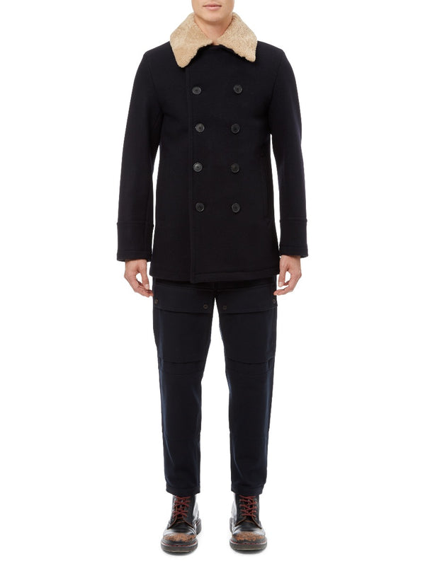 Midnight Blue Wool Peacoat