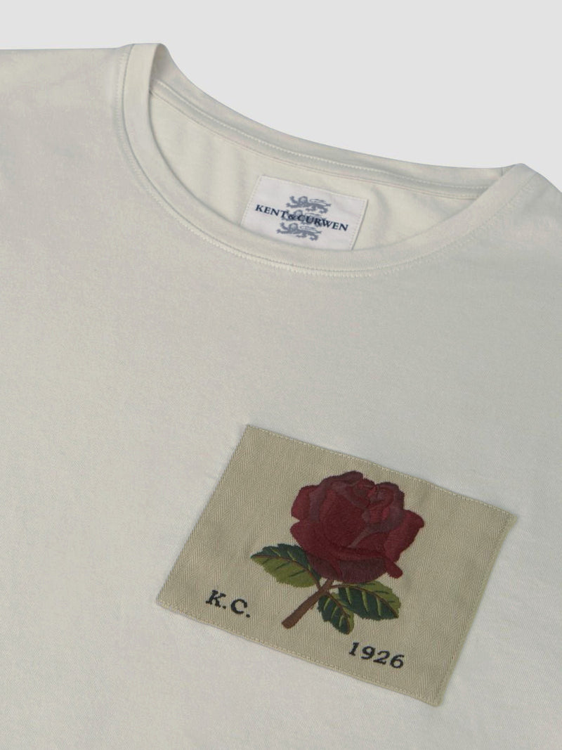 Rose Embroidered Cream T-Shirt