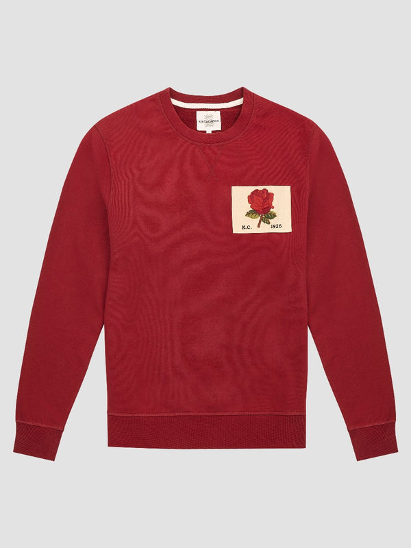 ROSE EMBROIDERED BURGUNDY SWEATSHIRT