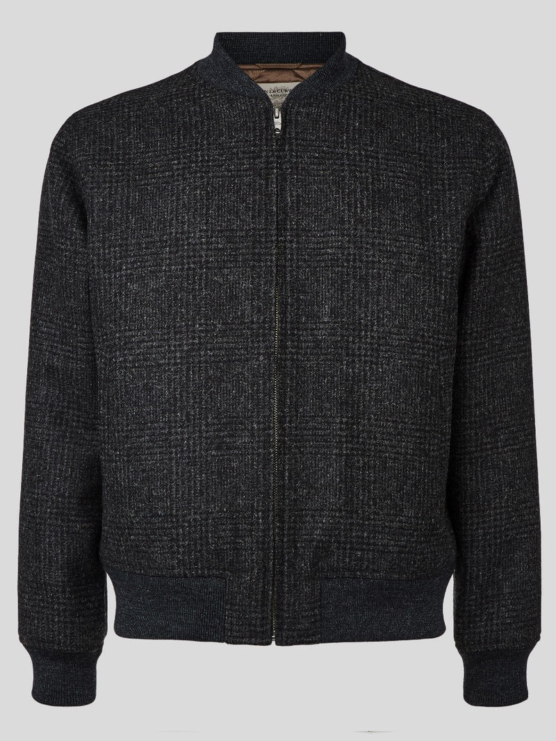 Checked Wool Bomber