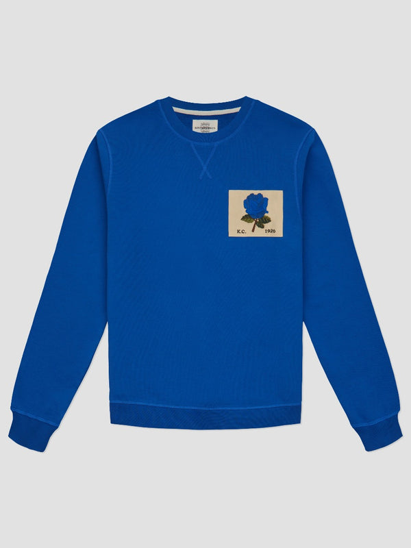 Rose Embroidered Cobalt Sweatshirt