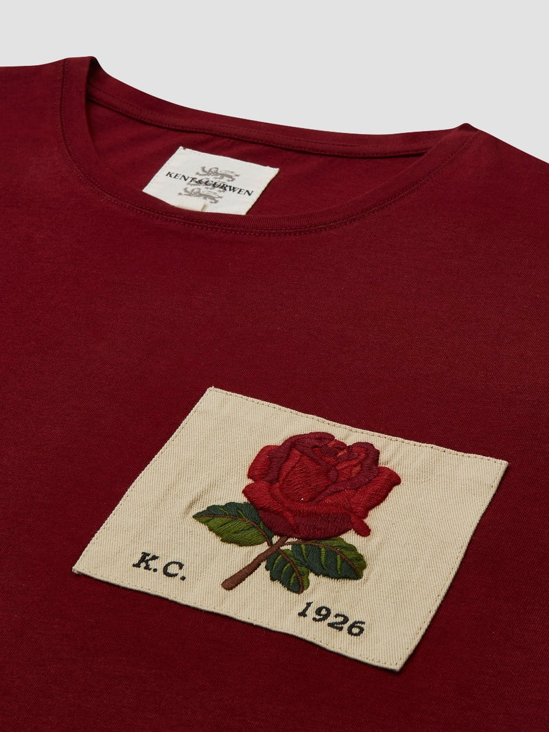 Rose Embroidered Burgundy T-Shirt