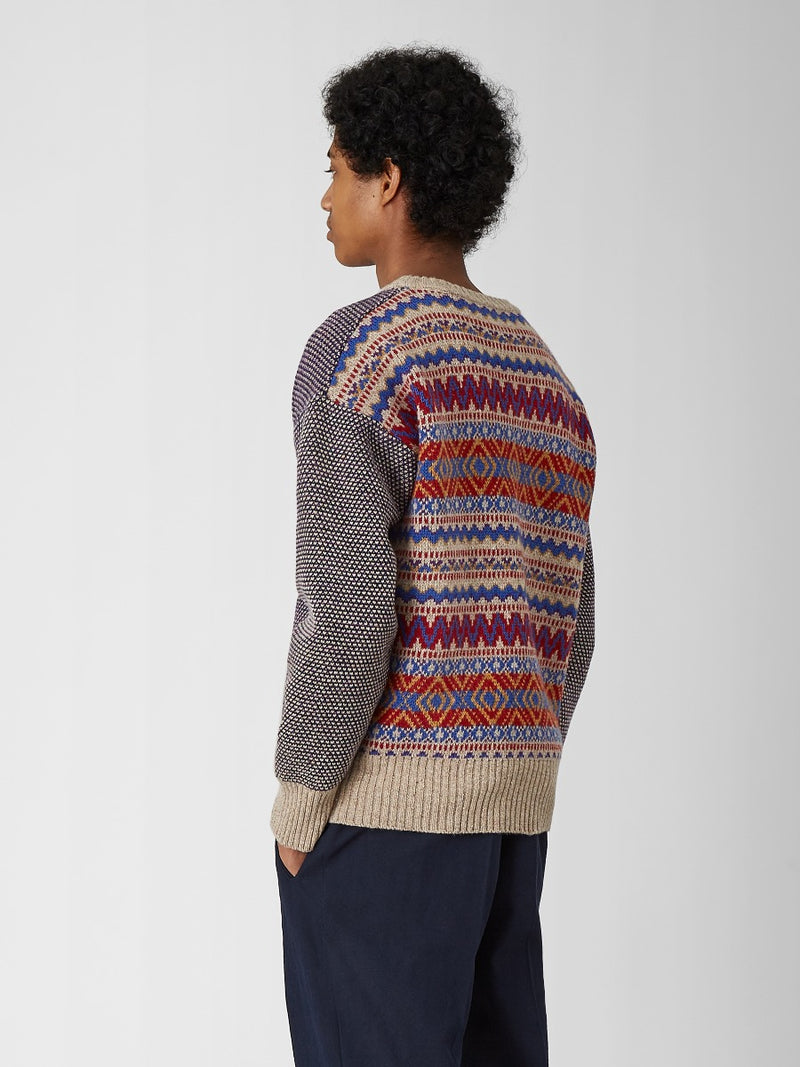 Wool Fairisle Backed Sweater