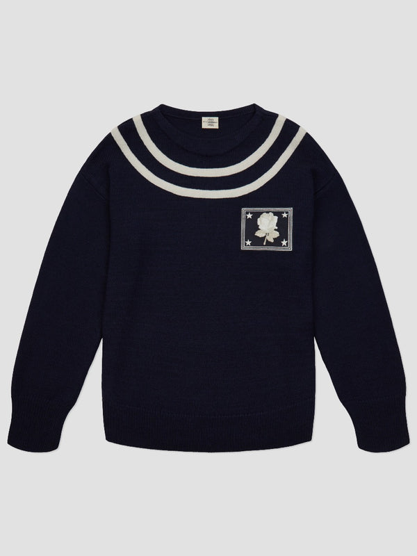 Embroidered Patch Striped Sweater