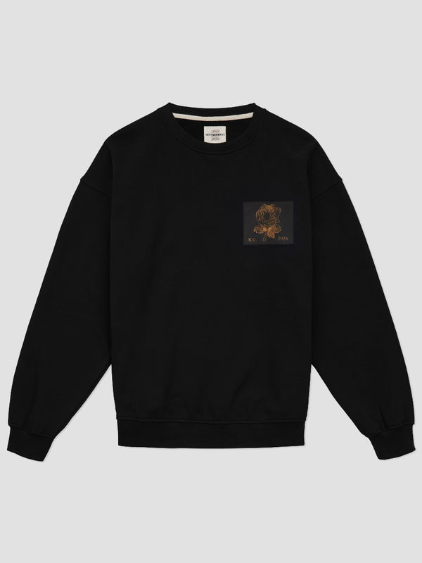 Leather Rose Patch Sweatshirt