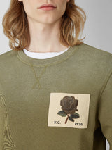Rose Embroidered Olive Sweatshirt