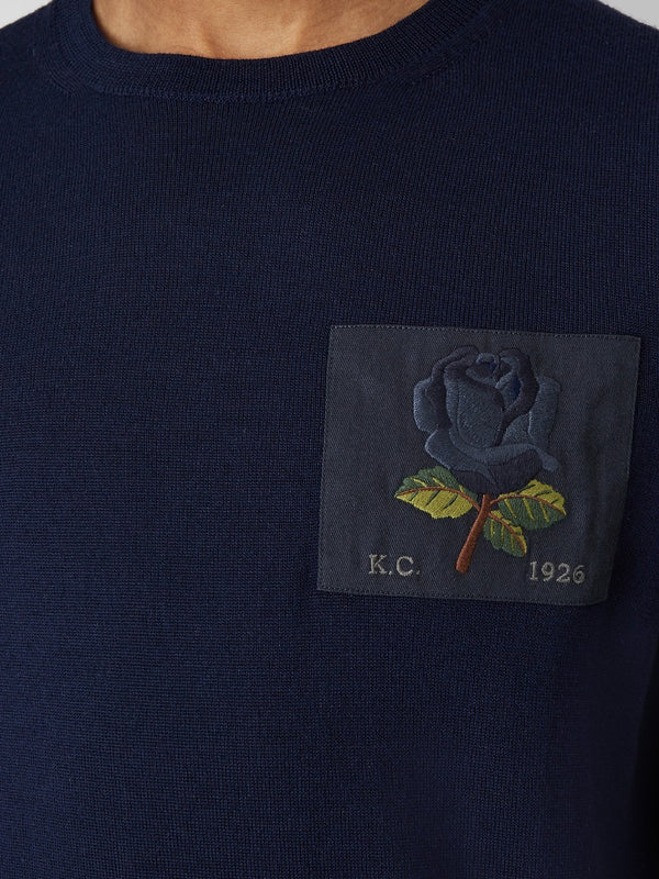 Rose Embroidered Merino Sweater