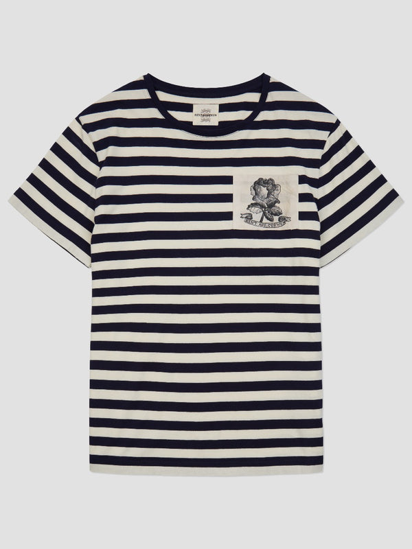 Rose Sketch Striped  T-Shirt