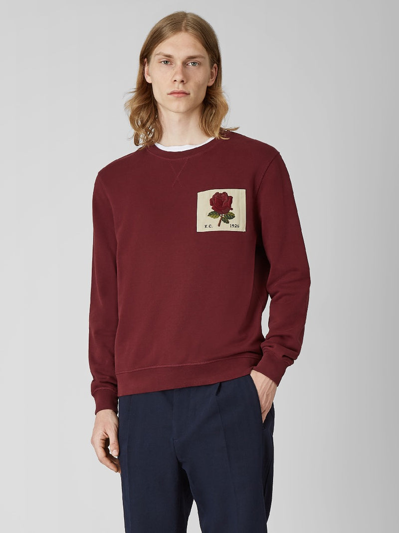 Rose Embroidered Twill Patch Sweatshirt