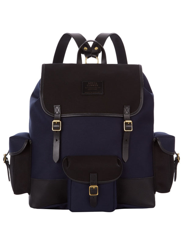 Large Canvas And Leather Backpack