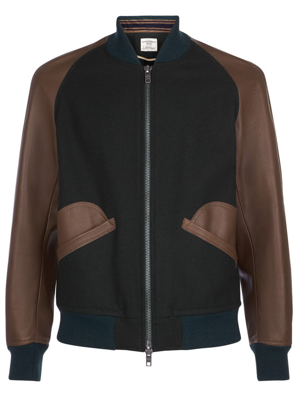 Contrast Leather Varsity Jacket