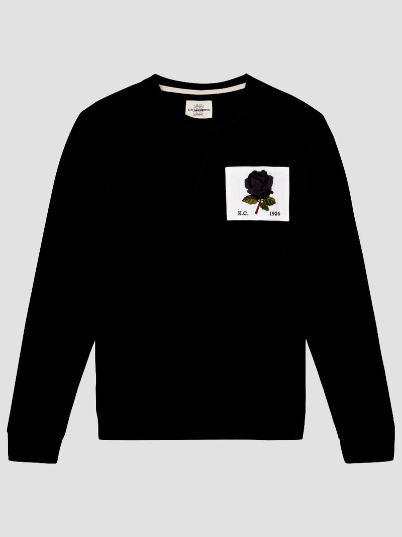 New 1926 Rose Embroidered Sweatshirt - Black