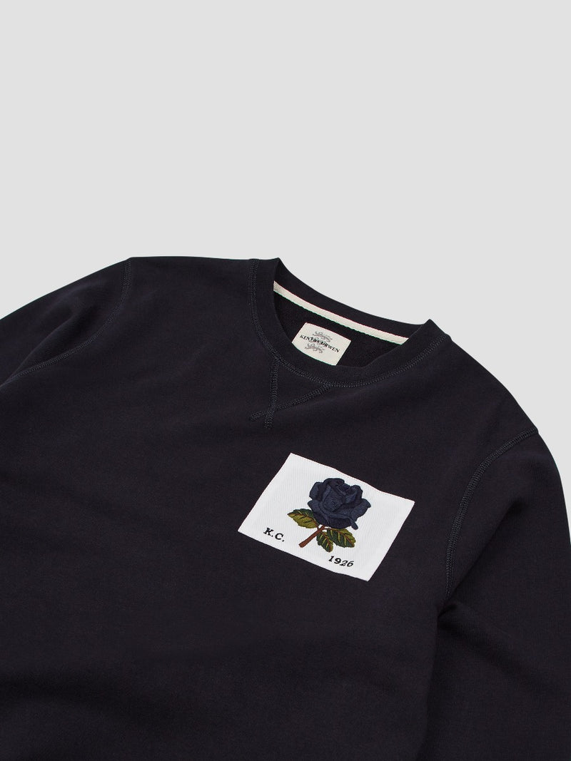 New 1926 Rose Embroidered Sweatshirt - Navy