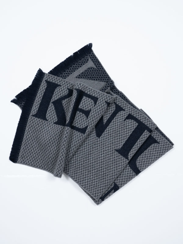 WOOL HERRINGBONE TEXT SCARF