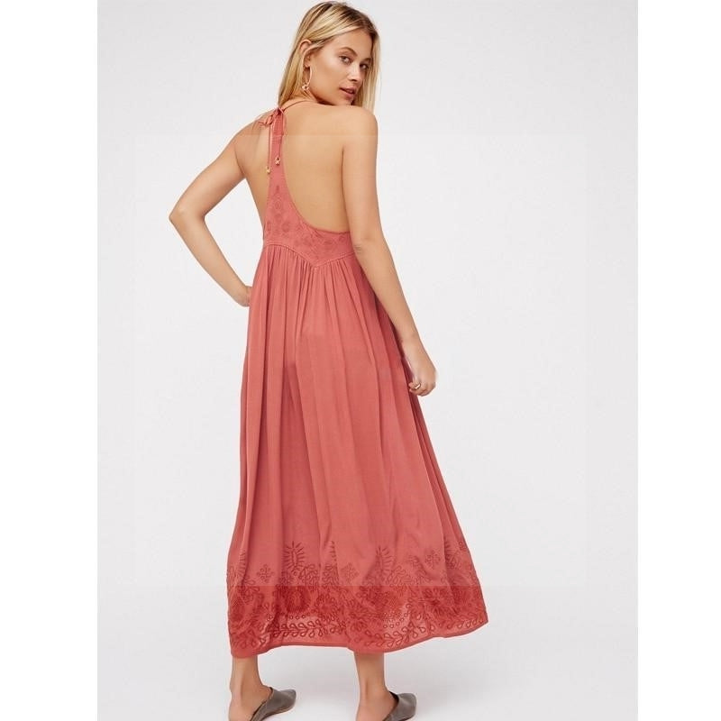 Robe longue boheme chic rose Charmante