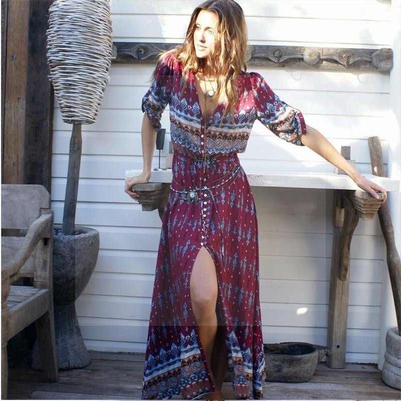Robe longue hiver hippie chic luxe