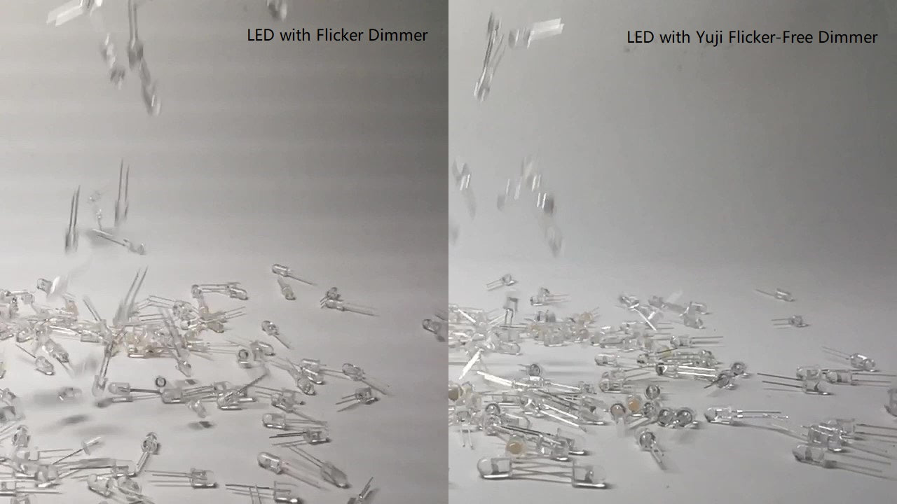 Video frame under flikering LEDs vs Yuji flikering-free LEDs