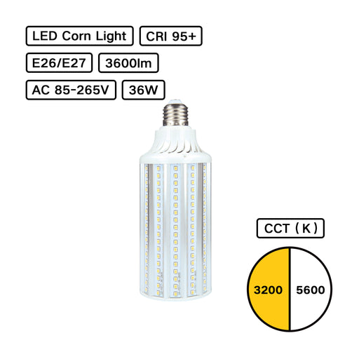 High CRI 95+ LED Corn Bulb E27 36W G02 3200K/5600K for Studio Softbox