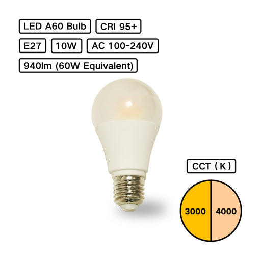 YujiLights™ High CRI 95+ A60 Remote Phosphor LED Bulb - Pack: 4pcs