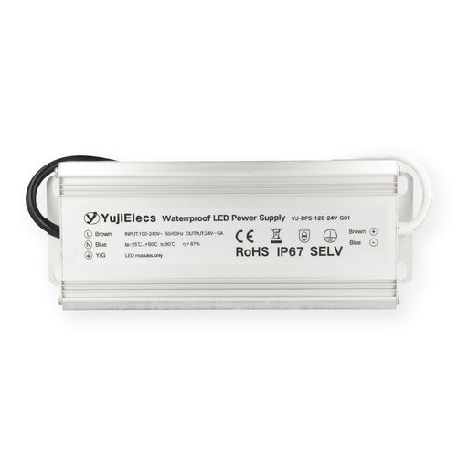 YujiElecs™ IP67 Waterproof Power Supply for LED Strips, 120W - Pack: 1pcs