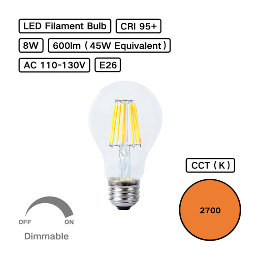 High CRI 95+ A19 LED Dimmable Filament Bulb