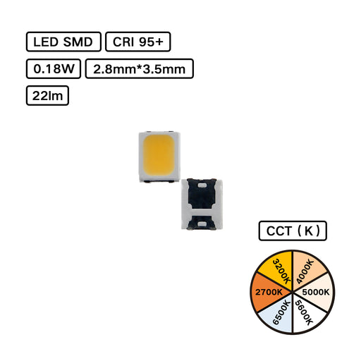 YUJILEDS® High CRI 95+ LED SMD - 2835L - Pack: 100pcs