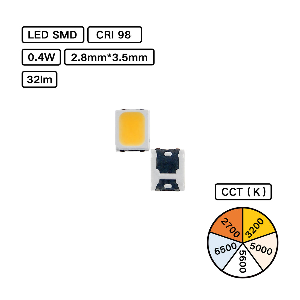 YUJILEDS® Full Spectrum CRI 98 LED SMD - 2835MX G02 - Pack: 100pcs
