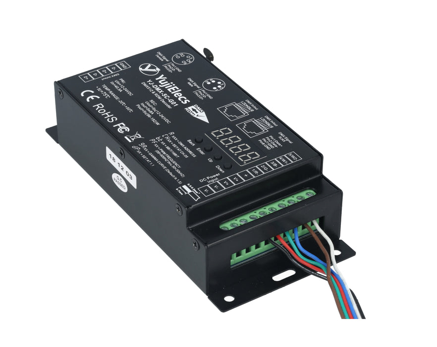 Yuji 5 Channels DMX512 & RDM High PWM Frequency Anti-flicker Decoder - Pack: 1pcs