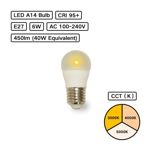 YujiLights™ High CRI 95+ A14 Remote Phosphor LED Bulb - Pack: 6pcs