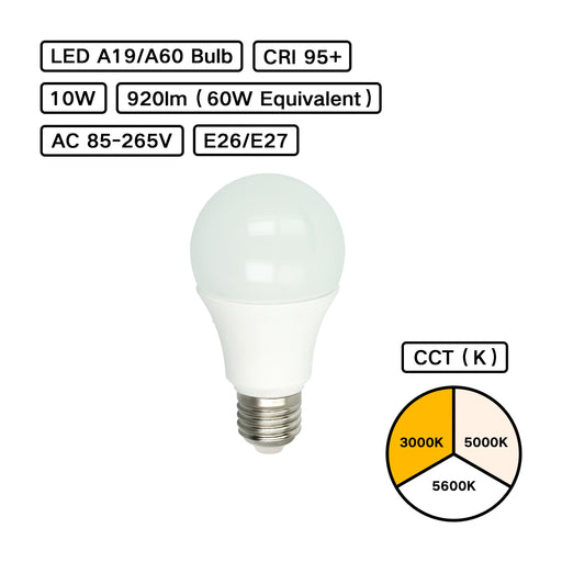 YujiLights™ High CRI 95+ A19/A60 10W LED Bulb - Pack: 4pcs