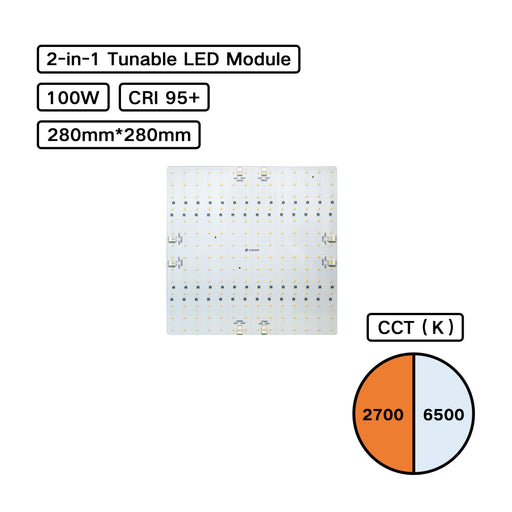 YUJILEDS® High CRI 95+ 2-in-1 Tunable MCPCB 100W LED Module - Pack: 2pcs