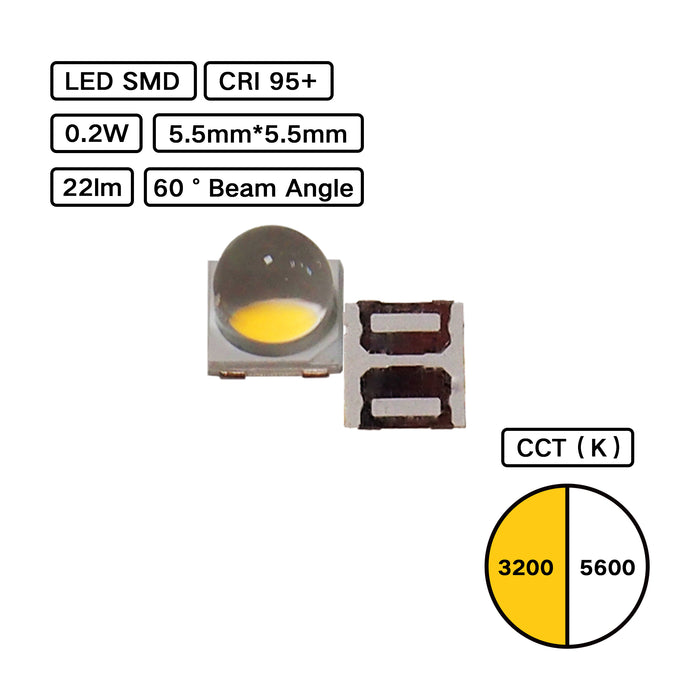 High CRI 95+ 5555 LED SMD with 60 degree lens