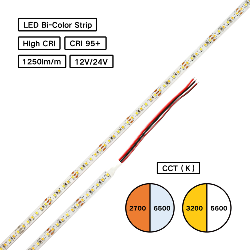 YUJILEDS® High CRI 95+ Bi-Color LED Flexible Strip - Circadian Rhythm Tunable White - for Human Centric Lighting