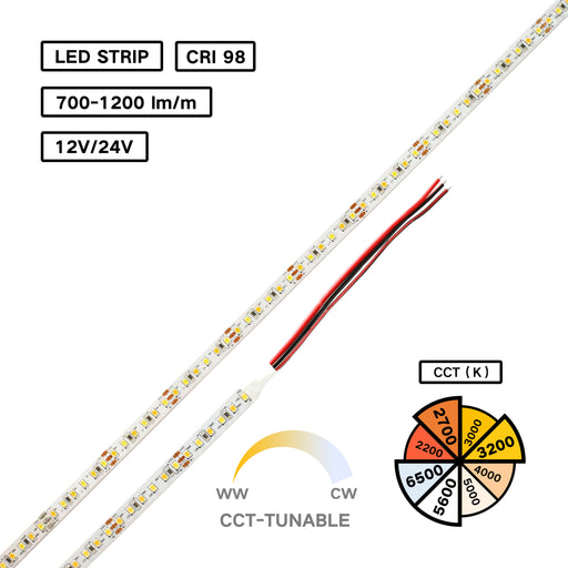 High CRI 98 Bicolor LED Flexible Strip – CCT Tunable for Jewelry Lighting