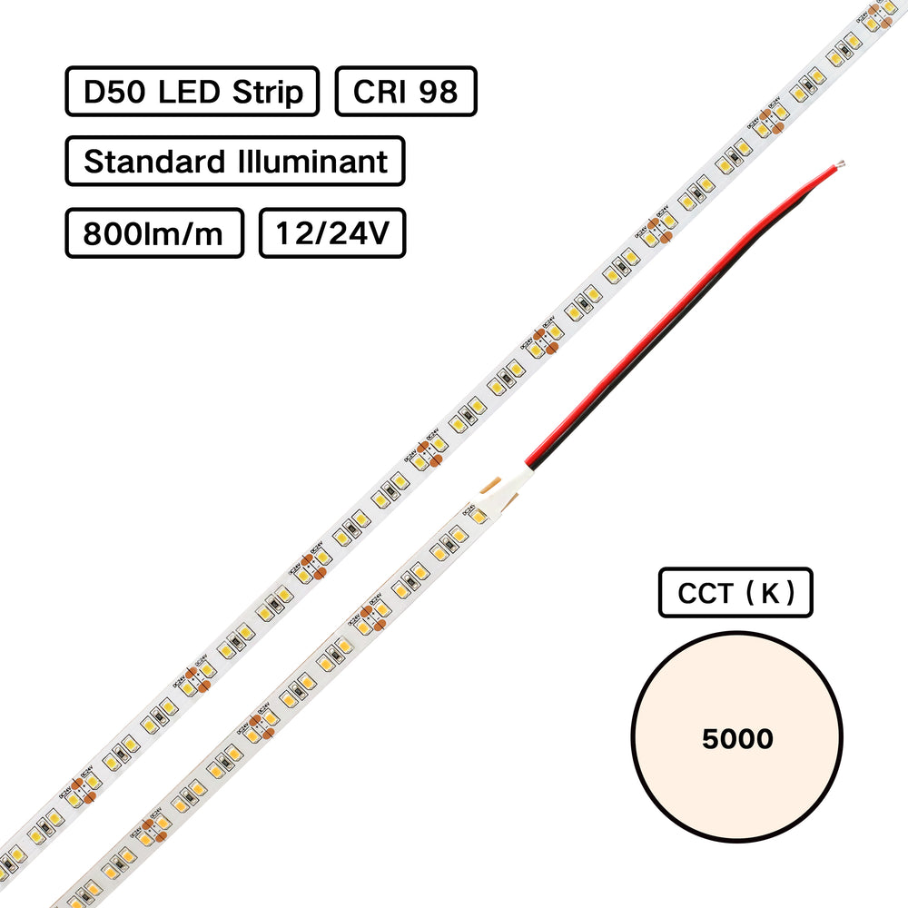 YUJILEDS® Standard Illuminant CRI 98 D50 5000K LED Flexible Strip (ISO3664:2000) - 120 LED/m - Pack: 5m/reel