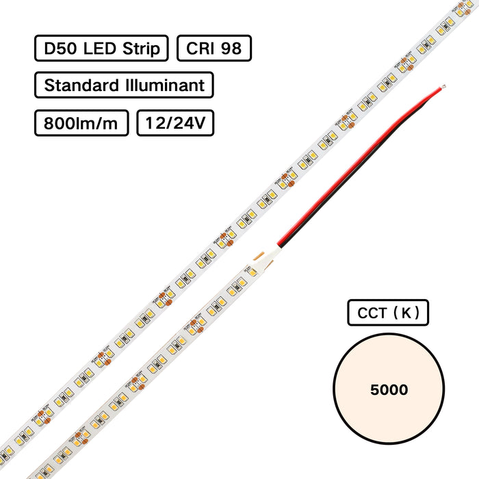 YUJILEDS® Standard Illuminant CRI 98 D50 5000K Flexible Strip (ISO3664:2000) for Color Inspection
