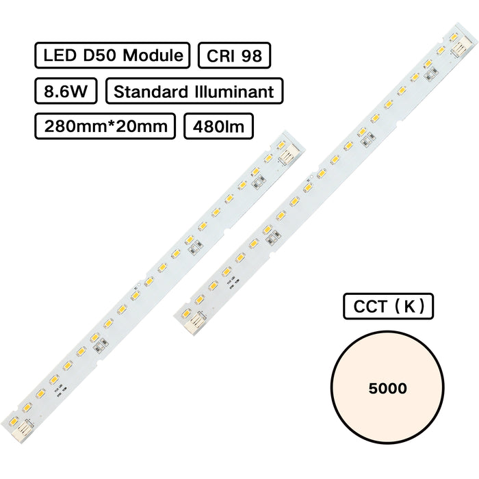 Standard Illuminant CRI 98 D50 5000K MCPCB LED Module (ISO 3664:2000) for Color Inspection