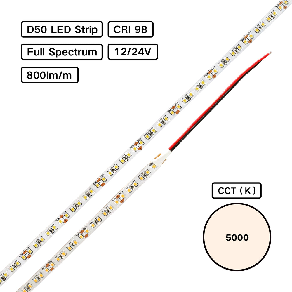 Full Spectrum CRI 98 D50 5000K 2835 LED Flexible Strip for Color Inspection