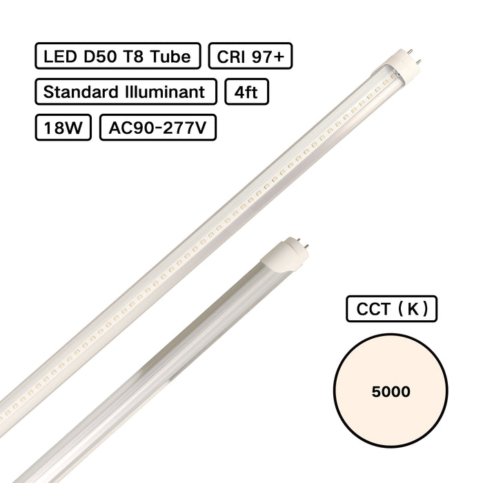 YujiLights™ Standard Illuminant CRI 98 D50 5000K T8 LED Tube Basic (ISO3664:2000) for Color Inspection - Pack: 3pcs