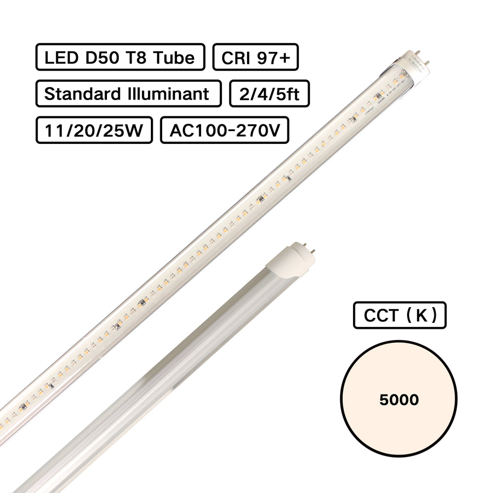 Standard Illuminant CRI 98 D50 5000K T8 LED Tube Pro (ISO3664:2009) for Color Inspection