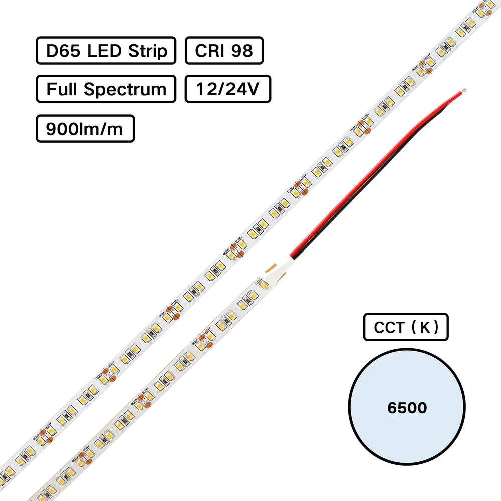 YUJILED® Full Spectrum CRI 98 D65 6500K 2835 LED Flexible Strip for Jewelry Lighting