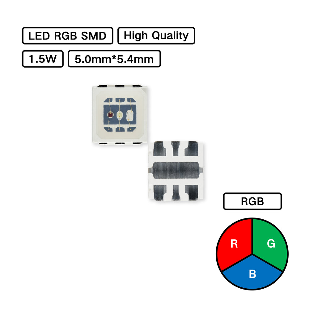 YUJILEDS® High Quality Mid-power RGB 3-in-1 5054 SMD - Pack: 100pcs
