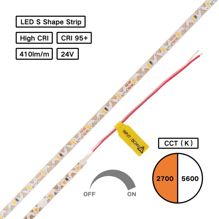 YUJILEDS® High CRI 95+ Zig Zag S Shape LED 2835 Flexible Strip