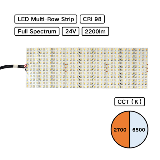 Full Spectrum High CRI 98 LED Multirow Strip - BiColor - Tungsten to Daylight for Film Lighting