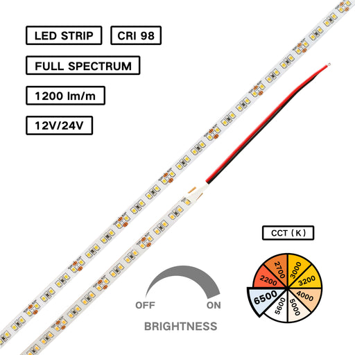 Full Spectrum CRI 98 D65 6500K 2835 LED Flexible Strip for Color Inspection