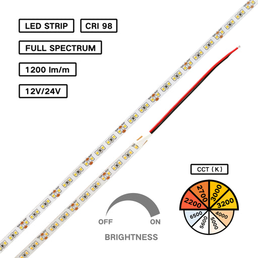 Full Spectrum High CRI 98 LED Flexible Strip - Less Blue Healthy White Light - for Human Centric Lighting