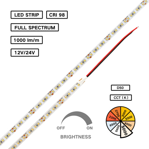 Full Spectrum High CRI 98 LED Flexible Strip – D50 for Medical Lighting