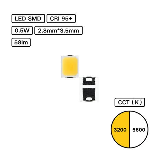 YUJILEDS® High CRI 95+ LED SMD - 2835M - Pack: 100pcs