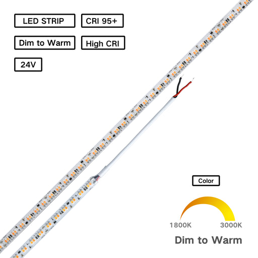 High CRI 95+ Dim to Warm LED Flexible Strip 1800K to 3000K -  Human Centric Lighting