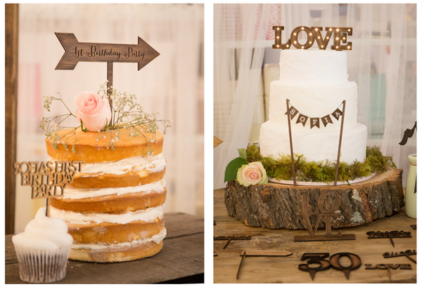 wooden cake topper & cupcake toppers